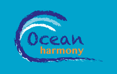 Ocean Harmony logo on a turquoise background