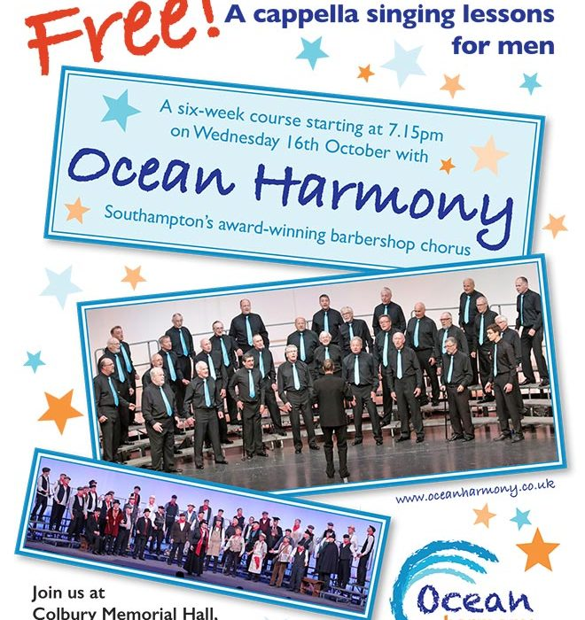 Free Learn to Sing Course with Ocean Harmony. Starting 7.15pm on Wednesday 16th October